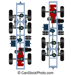 truck suspension, top view. Vector Illustration
