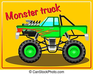 truck., tecknad film, monster
