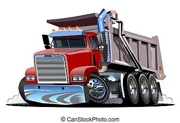 truck., tecknad film, vektor, dumpa