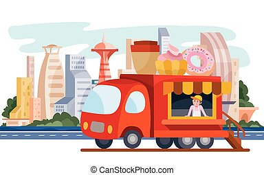 truck that sells street food, coffee, donut, fast food, stands on the background of the big city, vector illustration
