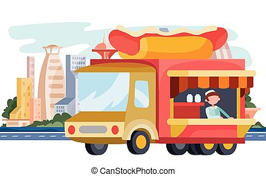 truck that sells street food, hot dog, sausage, bun, fast food, stands on the background of the big city, vector illustration