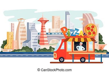 truck that sells street food, pizza, fast food, stands on the background of the big city, vector illustration