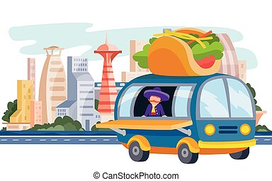 truck that sells street food, tacos, fast food, stands on the background of the big city, vector illustration