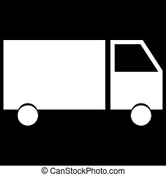 Truck the white color icon .