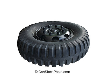 Truck tire isolated on white background.