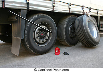 Truck tire replacement on the road