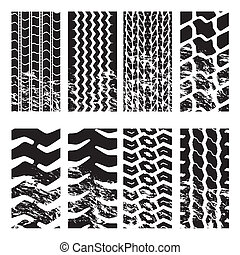 Truck tire tracks  - Truck tire track set with grunge effect