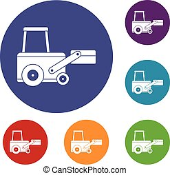 Truck to lift cargo icons set