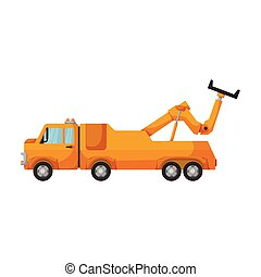 Truck tow vector icon. Cartoon vector icon isolated on white...