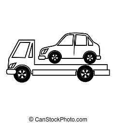 truck towing car icon vector illustration