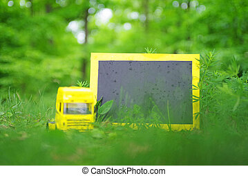 Truck toy and paperboard in nature - Heavy truck toy and ...