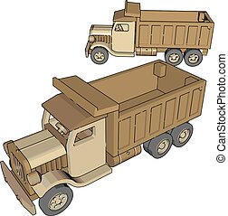 Truck toy, illustration, vector on white background.