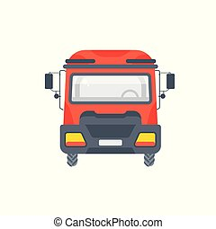 truck tractor illustration front view flat style