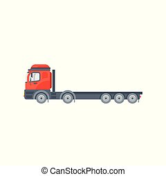truck tractor illustration side view in flat style