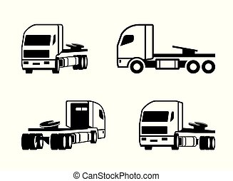 Truck tractor in different perspective - vector illustration