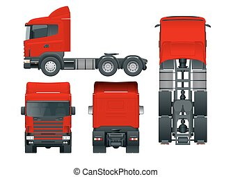 Truck tractor or semi-trailer truck. Cargo delivering vehicle template vector isolated illustration View front, rear, side, top. Car for the carriage of goods. Change the color in one click.