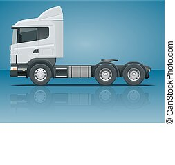 Truck tractor or semi-trailer truck. Cargo delivering vehicle template vector isolated illustration View side. Change the color in one click. All elements in groups