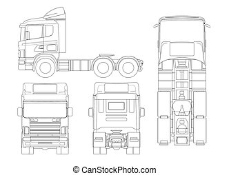 Truck tractor or semi-trailer truck in outline Combination of a tractor unit and one or more semi-trailers to carry freight.