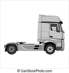 truck tractor unit - Powerful cargo truck tractor. Isolated...