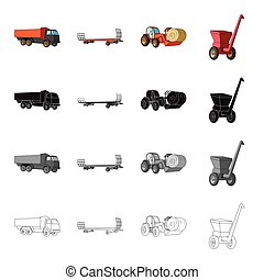 Truck, trailer for hay, tractor with a roll of hay, mobile chopper. Different types of agricultural machinery set collection icons in cartoon black monochrome outline style vector symbol stock isometric illustration web.