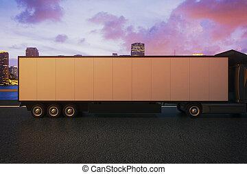 Truck trailer on night city background