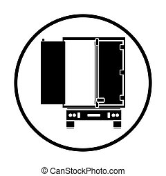 Truck trailer rear view icon. Thin circle design. Vector...