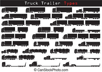 Truck trailer types in black and white
