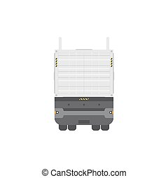 Truck trailer with container back view. Isolated on white background.