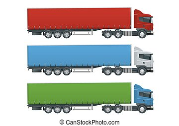 Truck trailer with container. Cargo delivering vehicle template vector isolated on white View side. Change the color in one click. All elements in groups