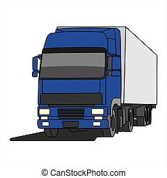 truck trailer with container. Front view. View of three quarters.