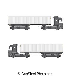 Truck trailer with container side view. Isolated on white background.
