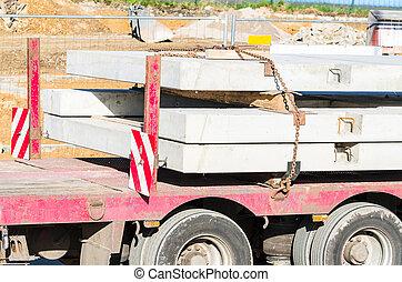 Truck-trailer with precast concrete