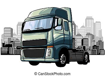 truck transport, delivery. Land, water and air types of transportation.