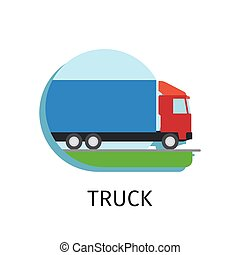 Truck transport in flat style