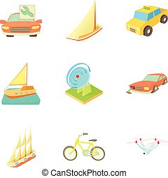 Truck transportation icons set, cartoon style