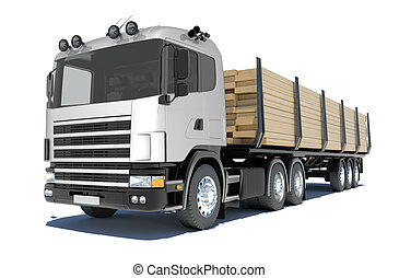 Truck transporting lumber. Isolated render on a white...
