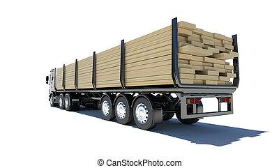 Truck transporting lumber