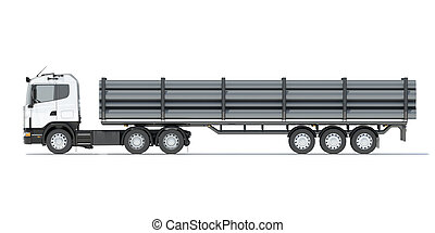 Truck transporting pipe