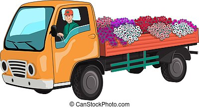 Truck transports flowers.