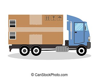 truck van and gift box pack