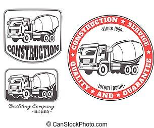 truck., vecteur, béton, logos, mélangeur, ensemble