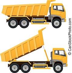truck., vecteur, dumper, illustration.