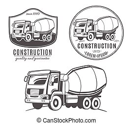 truck., vector, concreto, logotipos, batidora, conjunto