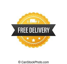truck., vector, delivery., libre, tag., acción, insignia, precio, illustrtaion.
