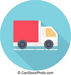 truck vector flat color icon