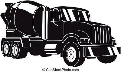 truck., vector, hormigonera, ilustración