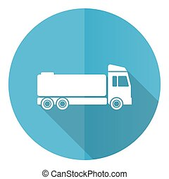 Truck vector icon, flat design blue round web button isolated on white background