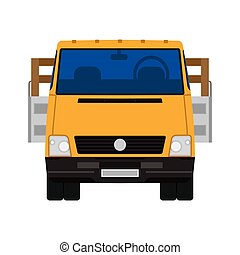 Truck vector icon front view car. Delivery isolated lorry cargo transport. Shipping vehicle van commercial. Flat industry logistic automobile