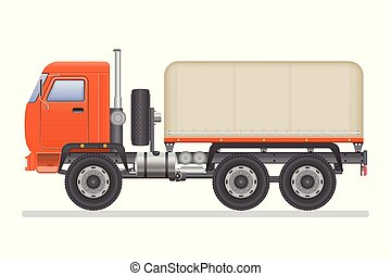 Truck vector illustration isolated on white background. Transportation vehicle.