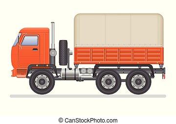 Truck vector illustration isolated on white background. Transportation vehicle.
